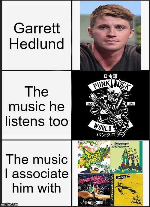 Garrett Set Radio? |  Garrett Hedlund; The music he listens too; The music I associate him with | image tagged in memes | made w/ Imgflip meme maker