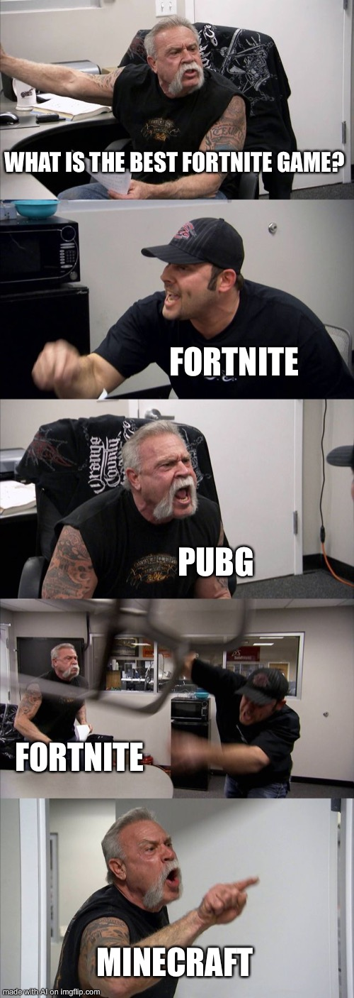Another AI-Generated meme |  WHAT IS THE BEST FORTNITE GAME? FORTNITE; PUBG; FORTNITE; MINECRAFT | image tagged in memes,american chopper argument,nonsense | made w/ Imgflip meme maker