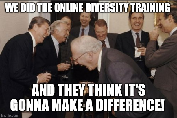 Laughing Men In Suits |  WE DID THE ONLINE DIVERSITY TRAINING; AND THEY THINK IT'S GONNA MAKE A DIFFERENCE! | image tagged in memes,laughing men in suits | made w/ Imgflip meme maker