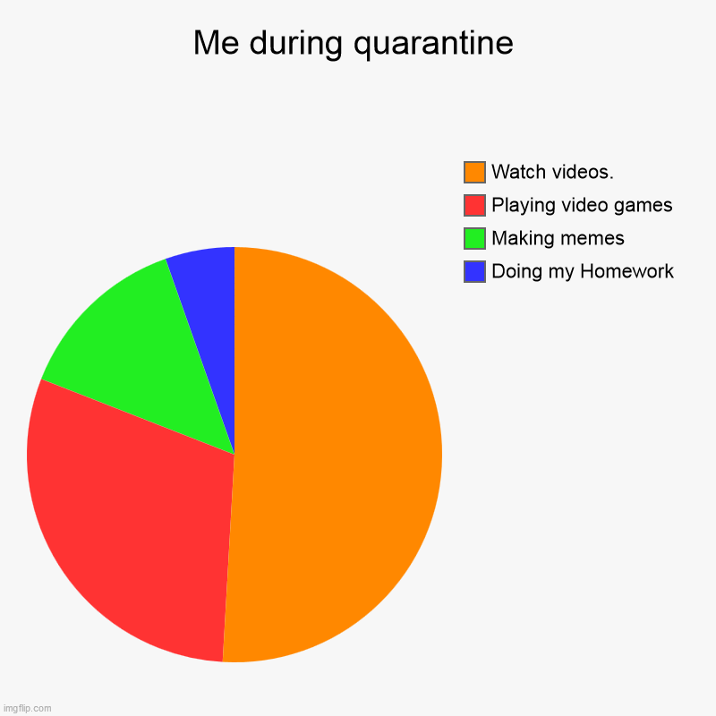 Me in quarantine. | Me during quarantine | Doing my Homework, Making memes, Playing video games, Watch videos. | image tagged in charts,pie charts | made w/ Imgflip chart maker