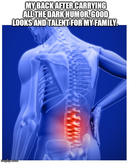 My back carrying the talent |  MY BACK AFTER CARRYING ALL THE DARK HUMOR, GOOD LOOKS AND TALENT FOR MY FAMILY. | image tagged in talent | made w/ Imgflip meme maker