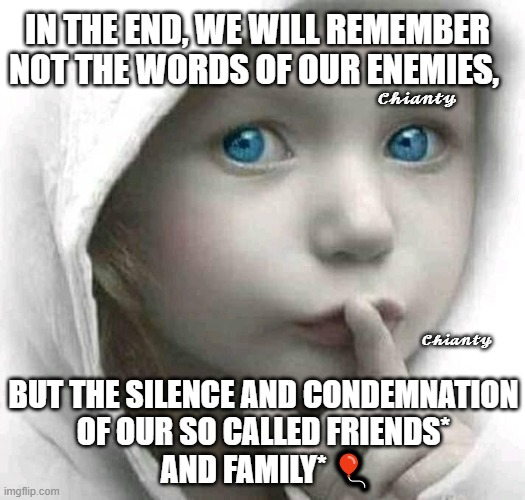 In the End |  𝓒𝓱𝓲𝓪𝓷𝓽𝔂; IN THE END, WE WILL REMEMBER NOT THE WORDS OF OUR ENEMIES, 𝓒𝓱𝓲𝓪𝓷𝓽𝔂; BUT THE SILENCE AND CONDEMNATION OF OUR SO CALLED FRIENDS*  AND FAMILY* 🎈 | image tagged in remember | made w/ Imgflip meme maker