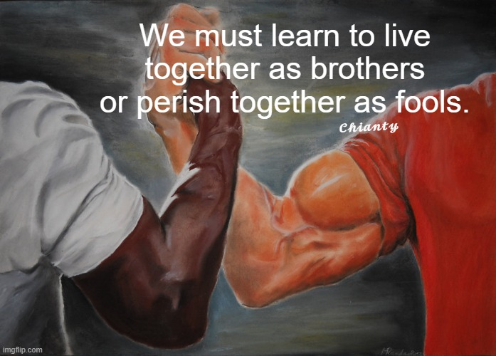 Learn |  We must learn to live together as brothers or perish together as fools. 𝓒𝓱𝓲𝓪𝓷𝓽𝔂 | image tagged in together | made w/ Imgflip meme maker