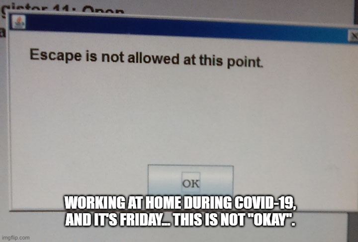 "WORKING AT HOME DURING COVID-19, AND IT'S FRIDAY... THIS IS NOT ""OKAY"". 