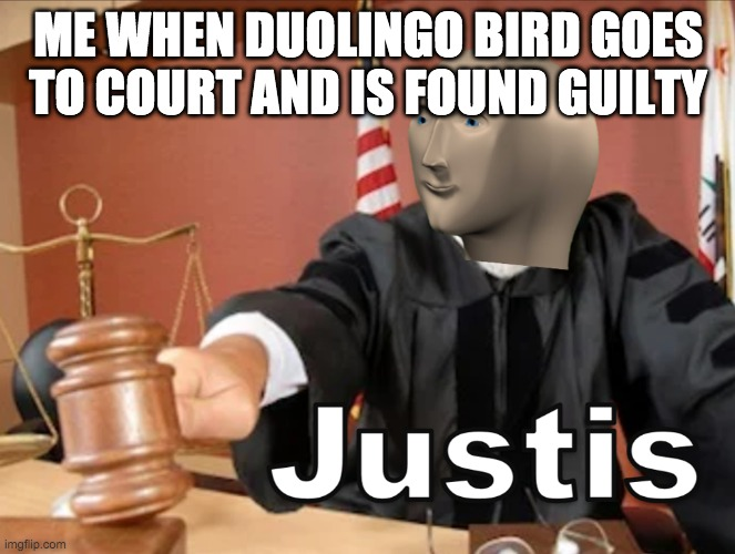 justice is served |  ME WHEN DUOLINGO BIRD GOES TO COURT AND IS FOUND GUILTY | image tagged in meme man justis,duolingo bird | made w/ Imgflip meme maker