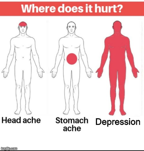 where does depression hurt |  Depression | image tagged in anatomy | made w/ Imgflip meme maker