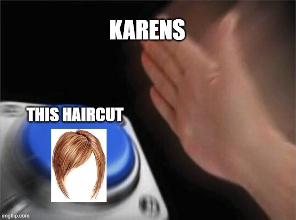 Blank Nut Button |  KARENS; THIS HAIRCUT | image tagged in memes,blank nut button,karen,button,karen haircut,haircut | made w/ Imgflip meme maker