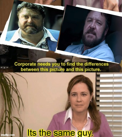 Russell Crowe is John Goodman |  Its the same guy. | image tagged in memes,they're the same picture,russell crowe,john goodman,unhinged | made w/ Imgflip meme maker