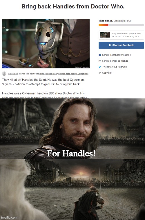 For Handles! | image tagged in aragorn black gate for frodo,memes | made w/ Imgflip meme maker