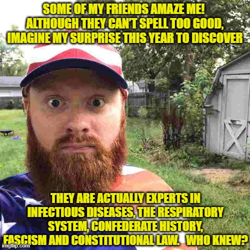 Social media experts |  SOME OF MY FRIENDS AMAZE ME!  ALTHOUGH THEY CAN'T SPELL TOO GOOD, IMAGINE MY SURPRISE THIS YEAR TO DISCOVER; THEY ARE ACTUALLY EXPERTS IN INFECTIOUS DISEASES, THE RESPIRATORY SYSTEM, CONFEDERATE HISTORY, FASCISM AND CONSTITUTIONAL LAW.   WHO KNEW? | image tagged in rednecks,confederate statues,covidiots,social media,southern pride | made w/ Imgflip meme maker