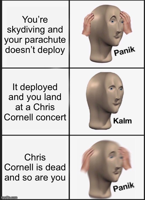 Mega Oof |  You're skydiving and your parachute doesn't deploy; It deployed and you land at a Chris Cornell concert; Chris Cornell is dead and so are you | image tagged in memes,panik kalm panik | made w/ Imgflip meme maker