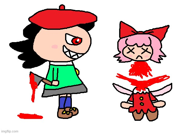 Adeleine is evil | image tagged in adeleine,ribbon,kirby,gore,blood,funny | made w/ Imgflip meme maker