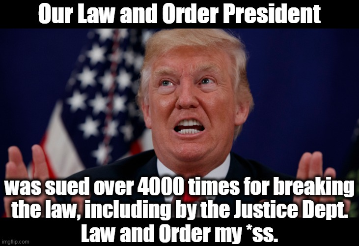 The documentation is bullet-proof. Trump has spent his entire career entangled in Mafias, first Italian, now Russian. |  Our Law and Order President; was sued over 4000 times for breaking the law, including by the Justice Dept. Law and Order my *ss. | image tagged in trump,law and order,criminal,crime,guilty,crook | made w/ Imgflip meme maker