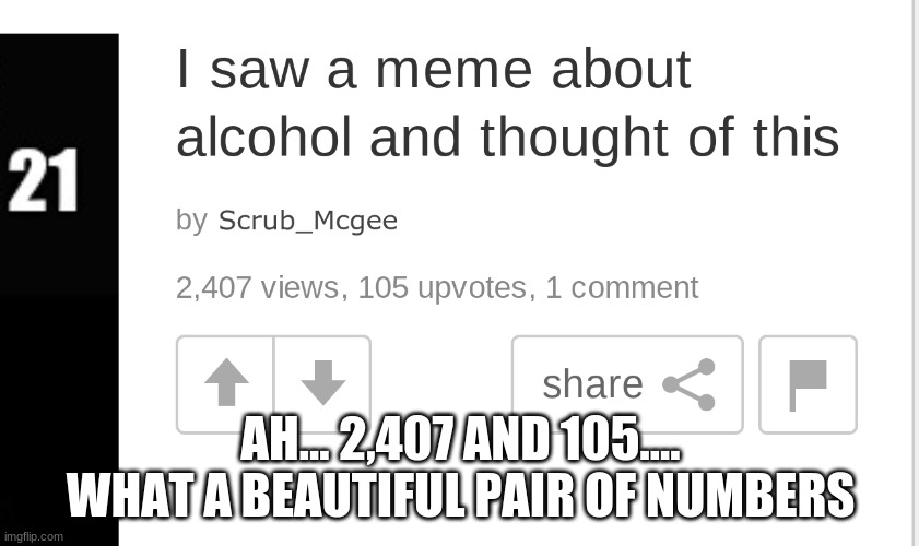 Currently my best meme |  AH... 2,407 AND 105.... WHAT A BEAUTIFUL PAIR OF NUMBERS | image tagged in scrub_mcgee memes,memes,yay,hot | made w/ Imgflip meme maker