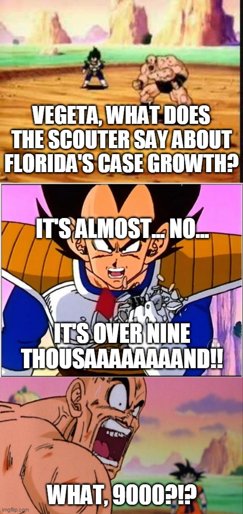Florida over 9000 |  VEGETA, WHAT DOES THE SCOUTER SAY ABOUT FLORIDA'S CASE GROWTH? IT'S ALMOST... NO... IT'S OVER NINE THOUSAAAAAAAAND!! WHAT, 9000?!? | image tagged in vegeta over 9000,nappa,coronavirus meme,meanwhile in florida,first world problems,world domination | made w/ Imgflip meme maker