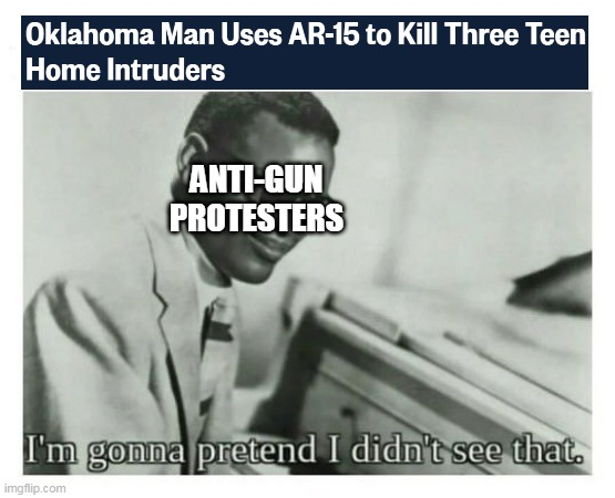 Well, that helped |  ANTI-GUN PROTESTERS | image tagged in i'm gonna pretend i didn't see that,guns,crime | made w/ Imgflip meme maker