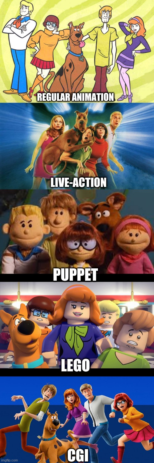 They've done every version of Scooby-Doo imaginable. |  REGULAR ANIMATION; LIVE-ACTION; PUPPET; LEGO; CGI | image tagged in memes,scooby doo,hanna barbera,warner bros | made w/ Imgflip meme maker