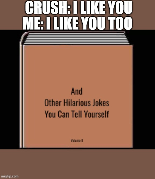 dead |  CRUSH: I LIKE YOU; ME: I LIKE YOU TOO | image tagged in memes | made w/ Imgflip meme maker