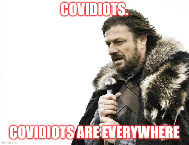 covidiots |  COVIDIOTS. COVIDIOTS ARE EVERYWHERE | image tagged in memes,brace yourselves x is coming | made w/ Imgflip meme maker