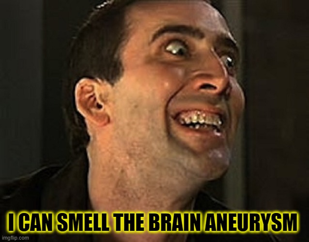 creepy cage | I CAN SMELL THE BRAIN ANEURYSM | image tagged in creepy cage | made w/ Imgflip meme maker