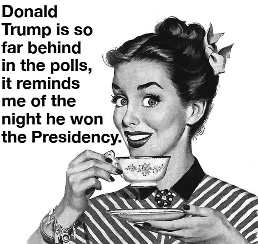 Don't You Just Love Libtard Propaganda? |  Donald Trump is so far behind in the polls, it reminds me of the night he won the Presidency. | image tagged in sounds like communist propaganda,propaganda,crying democrats,crying liberals,triggered liberal,sjw triggered | made w/ Imgflip meme maker