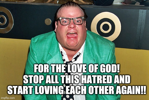 Farley |  FOR THE LOVE OF GOD! STOP ALL THIS HATRED AND START LOVING EACH OTHER AGAIN!! | image tagged in chris farley for the love of god | made w/ Imgflip meme maker