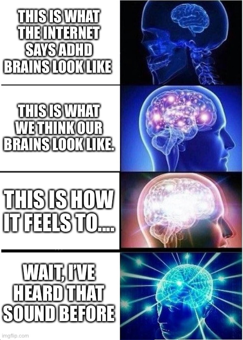 Expanding Brain Meme |  THIS IS WHAT THE INTERNET SAYS ADHD BRAINS LOOK LIKE; THIS IS WHAT WE THINK OUR BRAINS LOOK LIKE. THIS IS HOW IT FEELS TO.... WAIT, I'VE HEARD THAT SOUND BEFORE | image tagged in memes,expanding brain,adhd,funny,donald trump,the scroll of truth | made w/ Imgflip meme maker