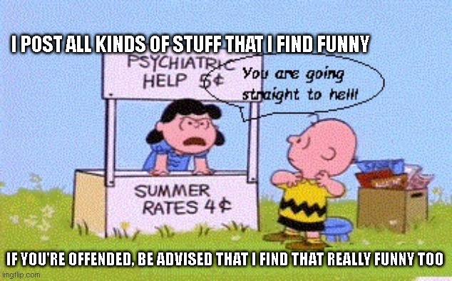 offended funny |  I POST ALL KINDS OF STUFF THAT I FIND FUNNY; IF YOU'RE OFFENDED, BE ADVISED THAT I FIND THAT REALLY FUNNY TOO | image tagged in lucy psychiatric help  stuff | made w/ Imgflip meme maker