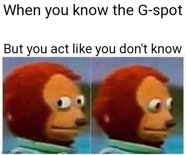 Monkey Puppet Meme |  When you know the G-spot; But you act like you don't know | image tagged in memes,monkey puppet | made w/ Imgflip meme maker
