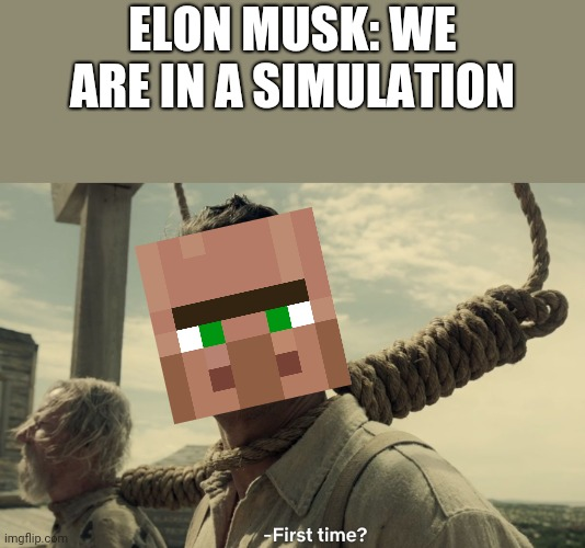 World is a simulation |  ELON MUSK: WE ARE IN A SIMULATION | image tagged in first time | made w/ Imgflip meme maker