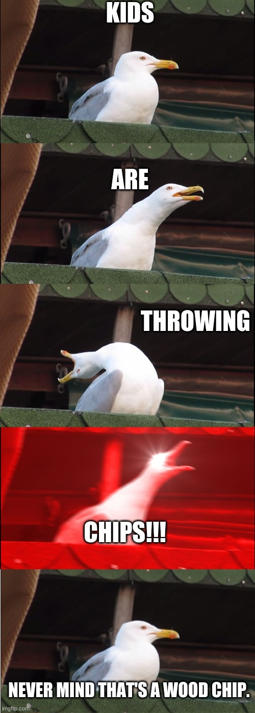 Wood Chips |  KIDS; ARE; THROWING; CHIPS!!! NEVER MIND THAT'S A WOOD CHIP. | image tagged in memes,inhaling seagull,chips,kids | made w/ Imgflip meme maker