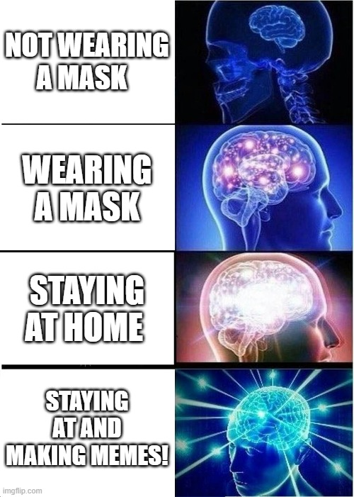 Expanding Brain Meme |  NOT WEARING A MASK; WEARING A MASK; STAYING AT HOME; STAYING AT AND MAKING MEMES! | image tagged in memes,expanding brain,stay home,face mask,meme making | made w/ Imgflip meme maker