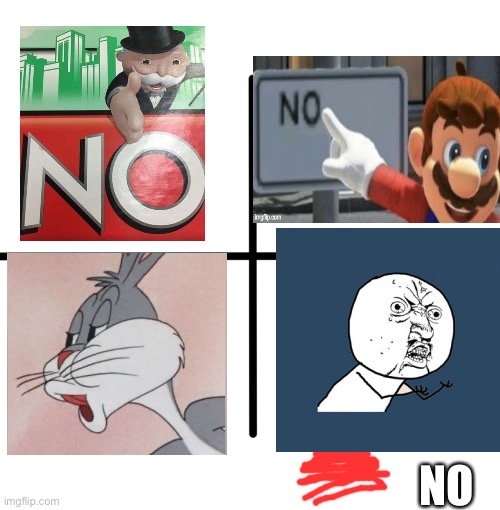 The four horsemen of No |  NO | image tagged in memes,blank starter pack,funny memes,lol,no,bugs bunny no | made w/ Imgflip meme maker