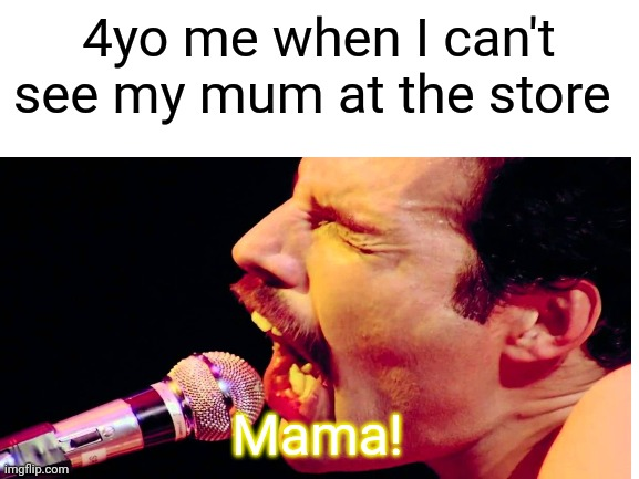 4yo me when I can't see my mum at the store; Mama! | image tagged in memes,freddie mercury | made w/ Imgflip meme maker