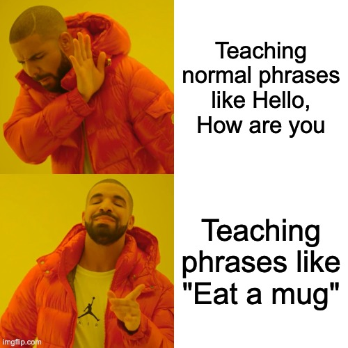 "Duolingo |  Teaching normal phrases like Hello, How are you; Teaching phrases like ""Eat a mug"" 