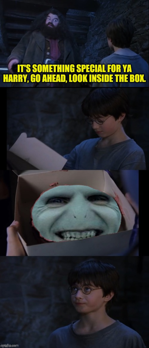 Harry Potter and The Box of Surprise |  IT'S SOMETHING SPECIAL FOR YA HARRY, GO AHEAD, LOOK INSIDE THE BOX. | image tagged in harry potter,harry potter meme,voldemort grin,lord voldemort,box | made w/ Imgflip meme maker