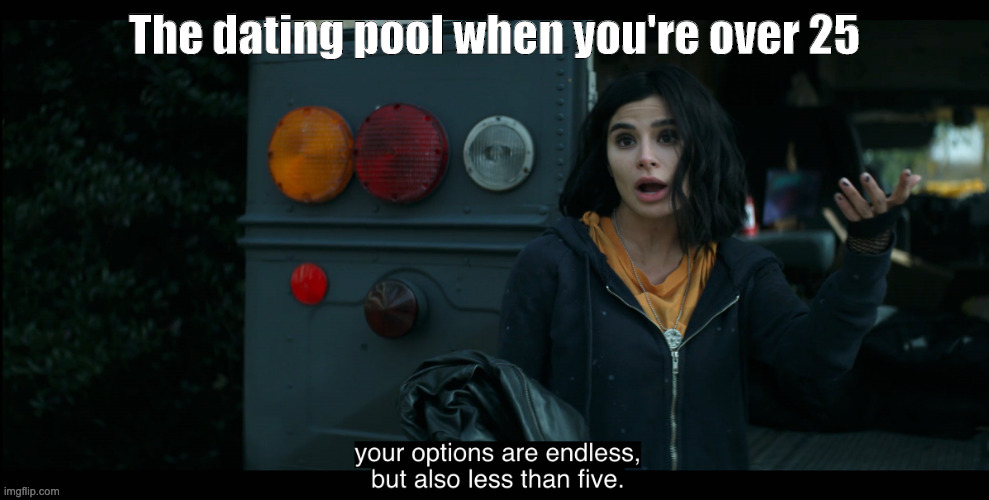Based Jane |  The dating pool when you're over 25 | image tagged in your options are endless but also less than five,DCDoomPatrol | made w/ Imgflip meme maker