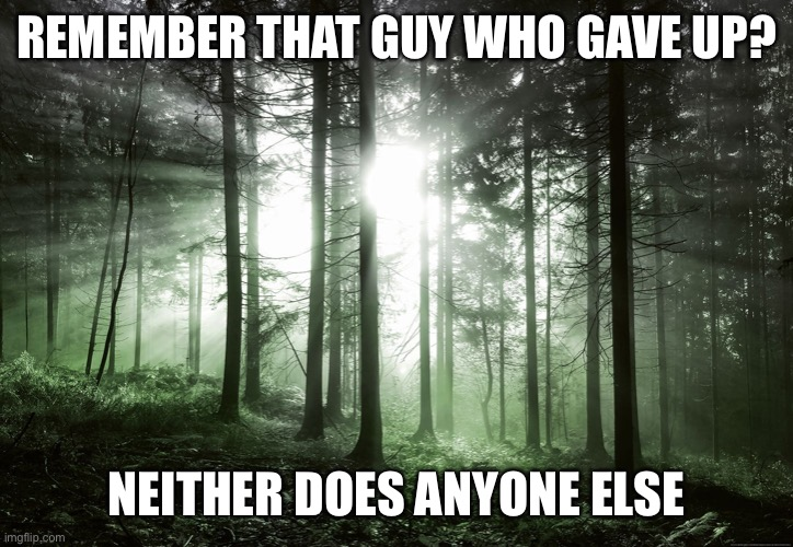 REMEMBER THAT GUY WHO GAVE UP? NEITHER DOES ANYONE ELSE | image tagged in memes,motivational | made w/ Imgflip meme maker