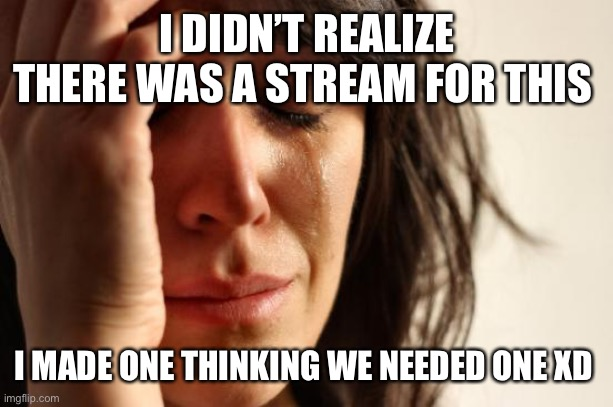 Guess that stream is going bye bye |  I DIDN'T REALIZE THERE WAS A STREAM FOR THIS; I MADE ONE THINKING WE NEEDED ONE XD | image tagged in memes,first world problems | made w/ Imgflip meme maker