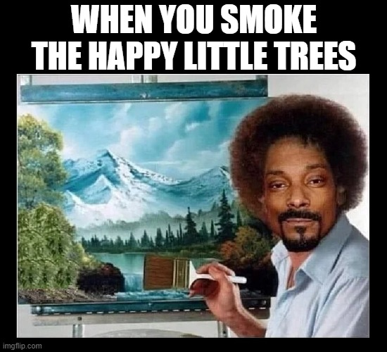 Snoop Ross.  Fo shizzle |  WHEN YOU SMOKE THE HAPPY LITTLE TREES | image tagged in funny,bob ross,painting,art,snoop dogg,happy little trees | made w/ Imgflip meme maker
