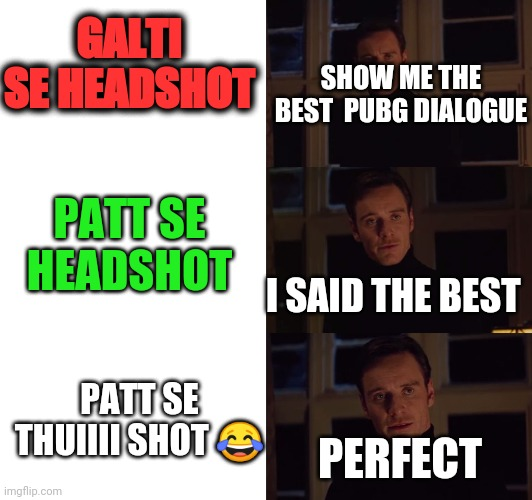 perfection |  GALTI SE HEADSHOT; SHOW ME THE BEST  PUBG DIALOGUE; PATT SE HEADSHOT; I SAID THE BEST; PATT SE THUIIII SHOT 😂; PERFECT | image tagged in perfection | made w/ Imgflip meme maker