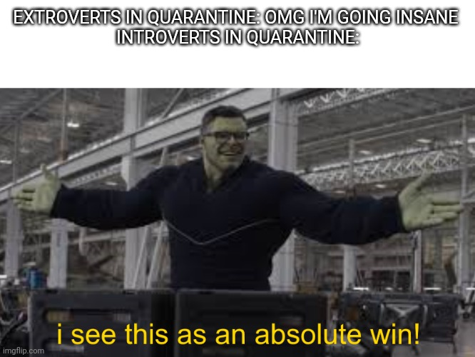 Happiness noise |  EXTROVERTS IN QUARANTINE: OMG I'M GOING INSANE  INTROVERTS IN QUARANTINE: | image tagged in endgame hulk i see this as an absolute win | made w/ Imgflip meme maker