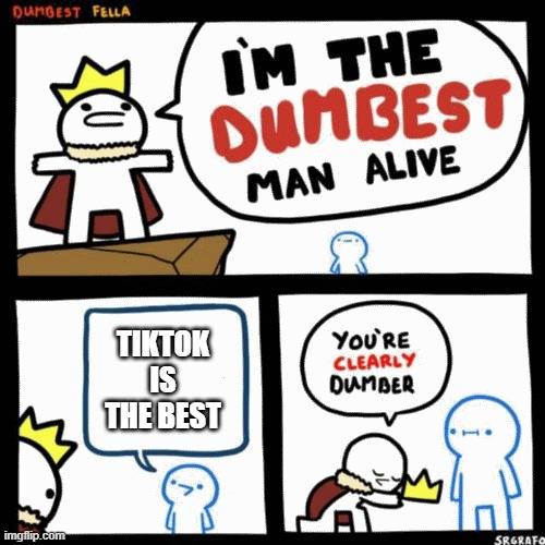 this is the dumbest man alive |  TIKTOK IS THE BEST | image tagged in i'm the dumbest man alive | made w/ Imgflip meme maker