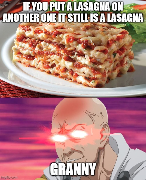 Keep this meme away from your granny |  IF YOU PUT A LASAGNA ON ANOTHER ONE IT STILL IS A LASAGNA; GRANNY | image tagged in lasagna,nani | made w/ Imgflip meme maker