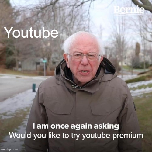 OoF |  Youtube; Would you like to try youtube premium | image tagged in memes,bernie i am once again asking for your support | made w/ Imgflip meme maker