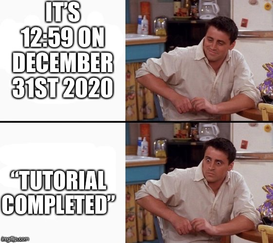 "Everyone's worst nightmare |  IT'S 12:59 ON DECEMBER 31ST 2020; ""TUTORIAL COMPLETED"" 