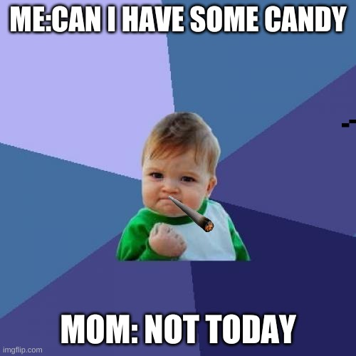 No candy for you |  ME:CAN I HAVE SOME CANDY; MOM: NOT TODAY | image tagged in memes,success kid | made w/ Imgflip meme maker