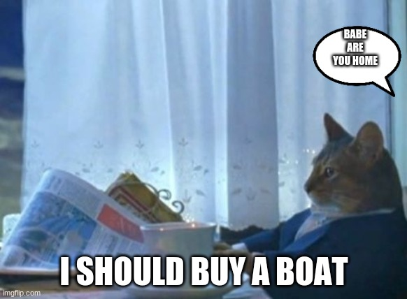 I Should Buy A Boat Cat |  BABE ARE YOU HOME; I SHOULD BUY A BOAT | image tagged in memes,i should buy a boat cat | made w/ Imgflip meme maker