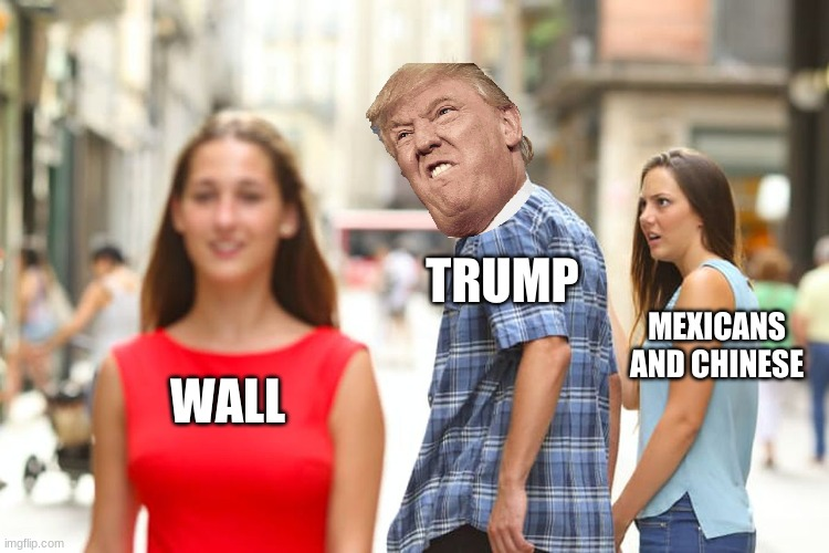 dumb boi |  TRUMP; MEXICANS AND CHINESE; WALL | image tagged in memes,distracted boyfriend | made w/ Imgflip meme maker