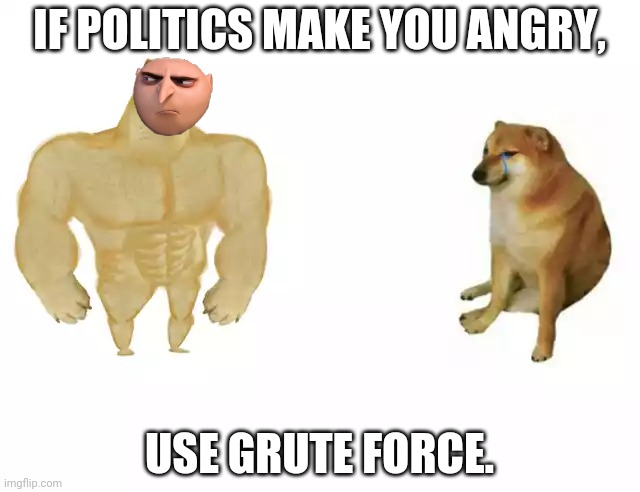 Buff doge vs cheems |  IF POLITICS MAKE YOU ANGRY, USE GRUTE FORCE. | image tagged in buff doge vs cheems | made w/ Imgflip meme maker